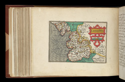 Map of Lancashire, from Atlas of the British Isles, Pieter Van Den Keere